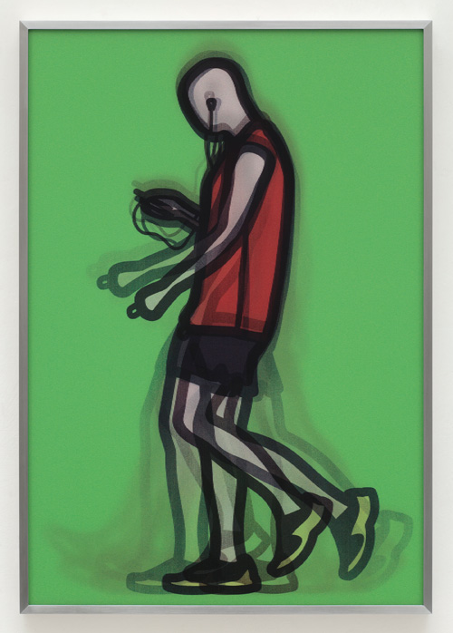 Julian Opie. Mechanic. Academic. From Walking in London 2, 2014. A series of five lenticular acrylics. Edition of 50. Courtesy Julian Opie and Alan Cristea Gallery.