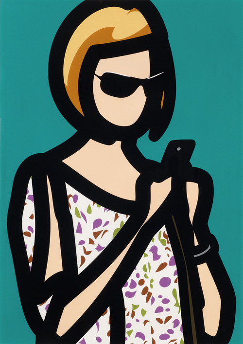 Julian Opie. Tourist with blouse. From Tourists, 2014. A series of screenprints with hand painting. Edition of 20. Courtesy Julian Opie and Alan Cristea Gallery.