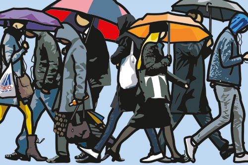 Julian Opie. Walking in the rain, London, 2015. Screenprint on Somerset 600 gsm paper. Edition of 50. Courtesy Julian Opie and Alan Cristea Gallery.