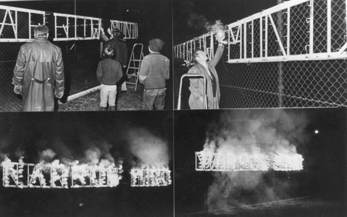 Dennis Oppenheim. Kunst als Lebenritual [Art as Living Ritual]. Firework display in a park in Graz, Monday 7 October 1974, 19.30. A photograph of the fireworks sign was shown in the gallery with the remaining wood construction. © Dennis Oppenheim, photograph courtesy Dennis Oppenheim studio.