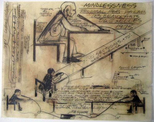 Dennis Oppenheim. Mindlessness, 1974. Proposal for Palais des Beaux-Arts, Brussels. Graphite on vellum, 48.3 x 61 cm.    