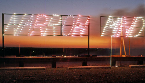 Dennis Oppenheim. Narrow Mind, 1974. Fireworks sign, location undisclosed. © Dennis Oppenheim, photograph courtesy Dennis Oppenheim studio.
