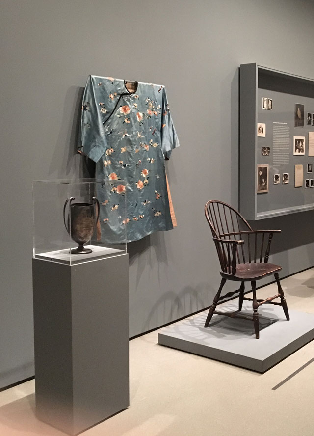 Silver loving cup presented to Margery Crandon by Arthur Conan Doyle on behalf of the British Psychic College. Robe worn by Crandon during séances. Séance chair belonging to Crandon. All objects are from the early 20th century. Photograph: Natasha Kurchanova.