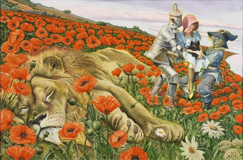 Charles Santore. <em>Poppy Field</em>, 1991. Watercolor. From The Wizard of Oz, Jelly Bean Press, Random House, 1991. Courtesy of the Artist