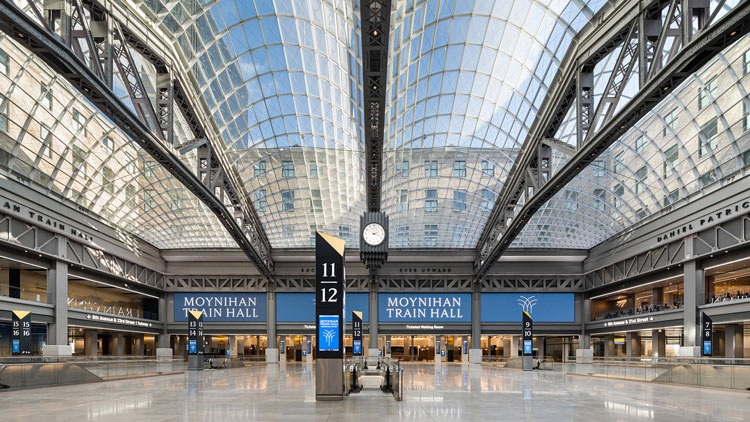 Moynihan Train Hall, Manhattan, 2020. Photo: Nicholas Knight, courtesy Empire State Development.