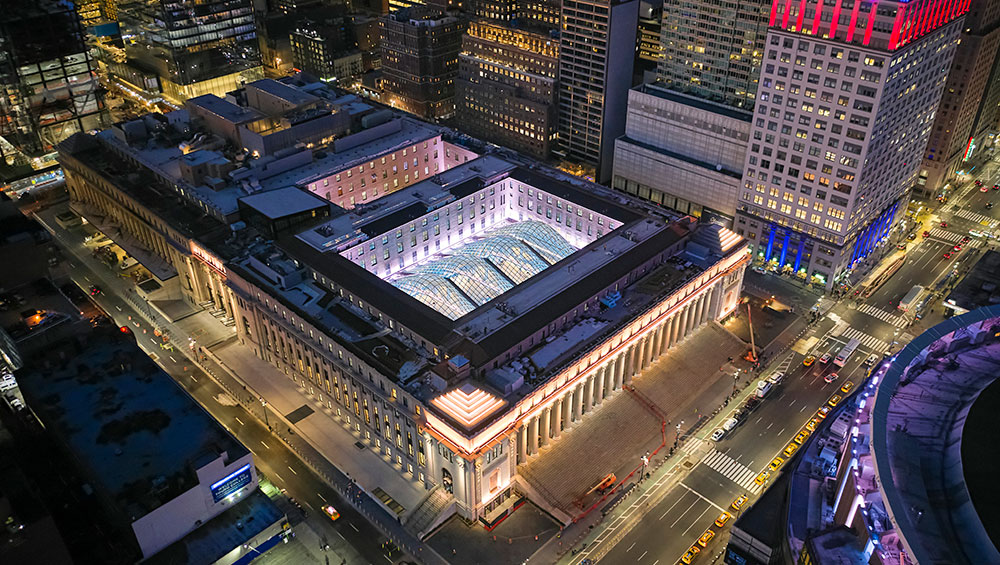 Wrought of sheer will, the Moynihan Train Hall, a radiant new gateway to Manhattan, addresses past, present and future with bravura engineering, lighting, and art