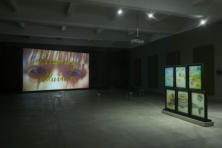 Thao Nguyen Phan, Becoming Alluvium, 2019. Installation view, Chisenhale Gallery, 2020. Produced and commissioned by Han Nefkens Foundation in collaboration with: Joan Miró Foundation, Barcelona; WIELS Contemporary Art Centre, Brussels; and Chisenhale Gallery. Courtesy of the artist. Photo: Andy Keate.