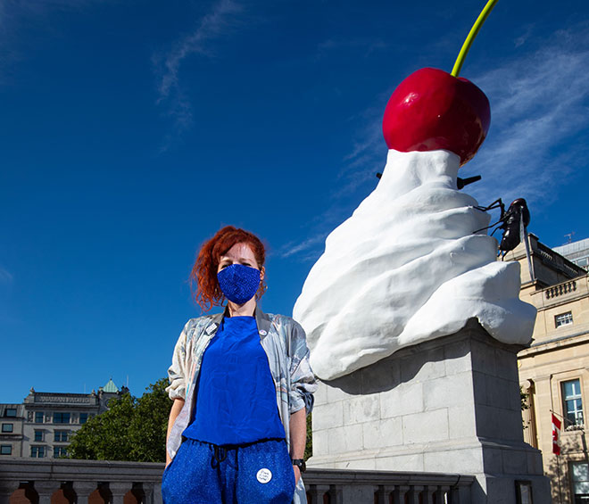 With her sculpture THE END finally installed in Trafalgar Square, after a delay due to Covid-19, and the first full monograph of her work now out, Phillipson talks about the pandemic, subversion, her multimedia practice and endings and beginnings