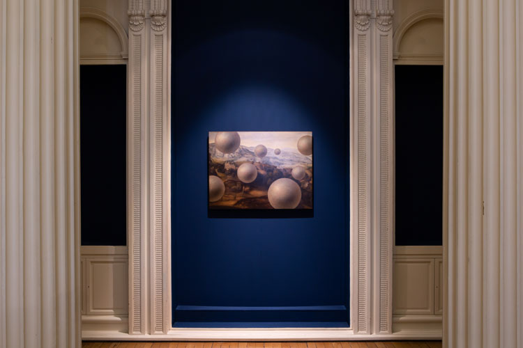Laurent Grasso, Studies into the past, 2018. Oil on wood. Installation view, Pine's Eye, 2020. Image courtesy Talbot Rice Gallery, The University of Edinburgh.