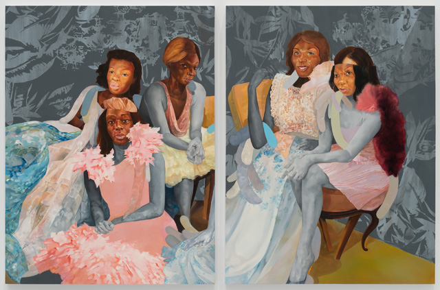 David Antonio Cruz, inmysleeplesssolitudetonight, portrait of the florida girls, 2019. Oil and enamel on wood, 48 x 72 in. Courtesy of the artist. Photo: Sebastian Bach.