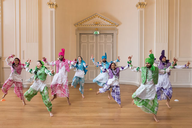 Martin Parr. Bhangra dancers, Assembly Rooms, Edinburgh, Scotland, 2017. Commissioned by BBC One. © Martin Parr / Magnum Photos / Rocket Gallery.