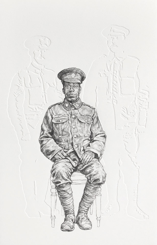 Barbara Walker, All The Kings Men, 2018. Graphite on embossed paper, 63.1 x 46.4 cm. Photo courtesy Alan Cristea Gallery.