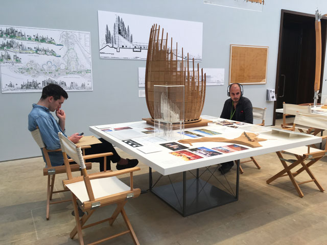 Visitors immersed in content. Installation view, Renzo Piano: The Art of Making Buildings, Royal Academy of Arts, London. Photo: Veronica Simpson.