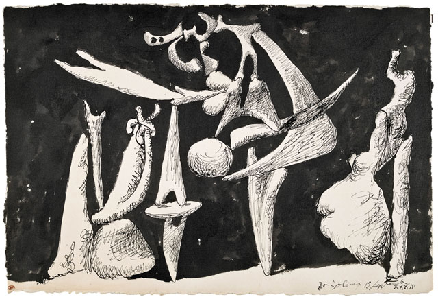Pablo Picasso. The Crucifixion (La crucifixion), 1932. Ink on paper, 34.5 x 50.5 cm. Musée National Picasso. © Succession Picasso/DACS London, 2017.