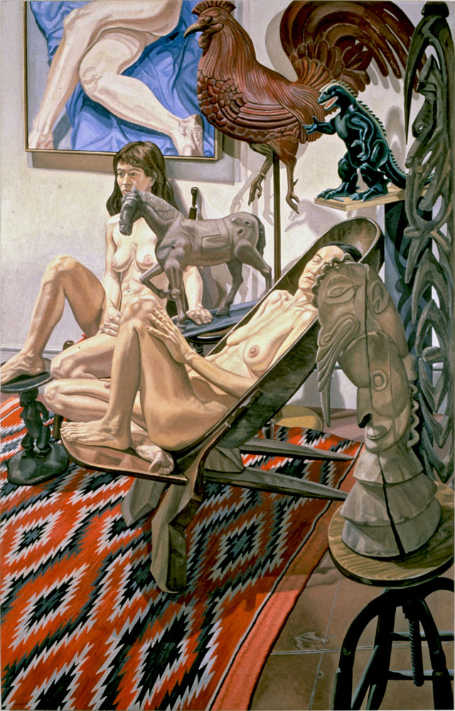 Philip Pearlstein. Models with Godzilla, etc., 1990. Oil on canvas, 96 x 60 in (243.84 x 152.4 cm). © the artist.