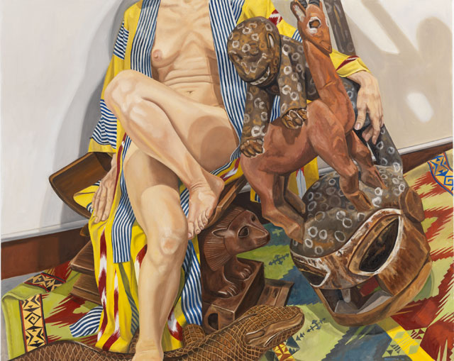 Philip Pearlstein. Model in Japanese Robe with African Carvings, 2009. Oil on canvas, 48 x 60 in (121.92 x 152.4 cm). © the artist.