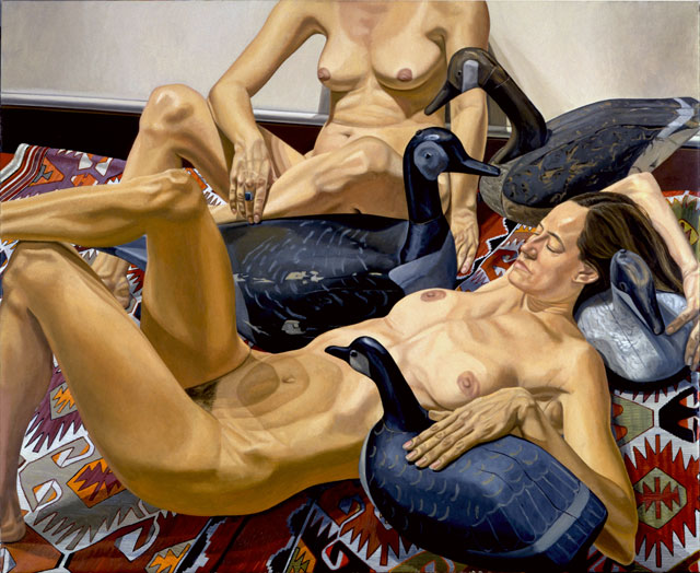 Philip Pearlstein. Two Nudes with Four Goose Decoys, 1994. Oil on canvas, 60 x 72 in (152.4 x 182.88 cm). © the artist.