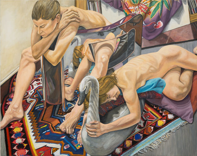 Philip Pearlstein. Two Models, Polished Steel Chair and Swan Decoy, 2016. Oil on canvas, 48 x 60 in (121.92 x 152.4 cm). © the artist.