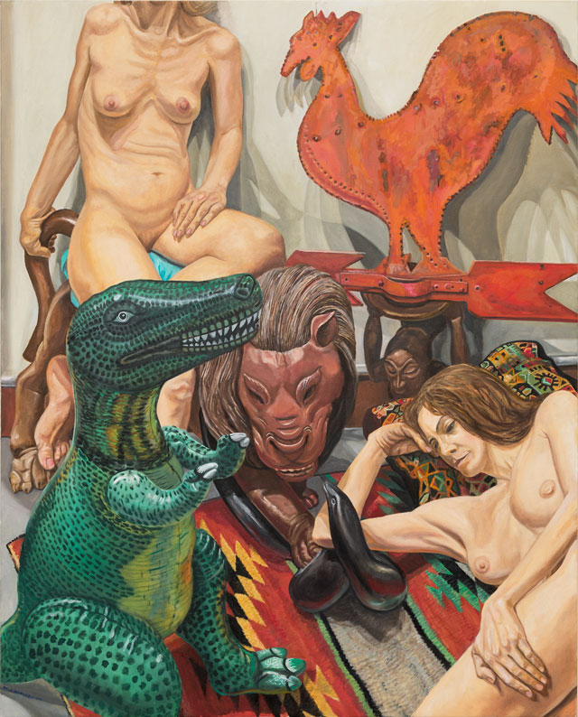 Philip Pearlstein. Two Models, Rooster Weathervane, Luna Park Lion and Blow-up Dinosaur, 2016. Oil on canvas, 60 x 48 in (152.4 x 121.92 cm). © the artist.