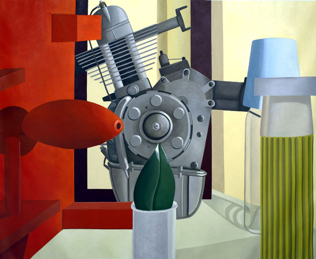 Nathalie Du Pasquier. Con la foglia di magnolia, 2005-2006. Oil on canvas, 200 x 250 cm. Courtesy of Kunsthalle Wien and the Institute of Contemporary Art at the University of Pennsylvania.