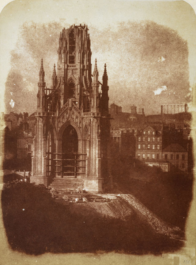 David Octavius Hill and Robert Adamson. The Sir Walter Scott Monument under Construction, 1843. Calotype print, 20.10 x 14.90 cm. Scottish National Portrait Gallery.