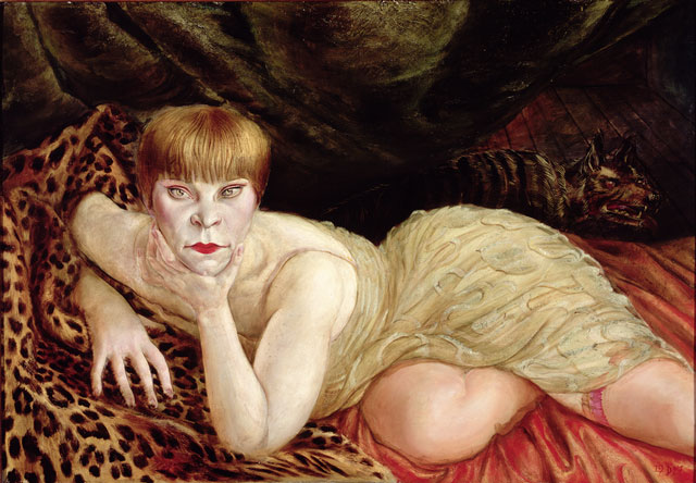 Otto Dix. Reclining Woman on a Leopard Skin, 1927. (Liegende auf Leopardenfell), 1927. Oil paint on panel, 68 x 98 cm. © DACS 2017. Collection of the Herbert F. Johnson Museum of Art, Cornell University.
