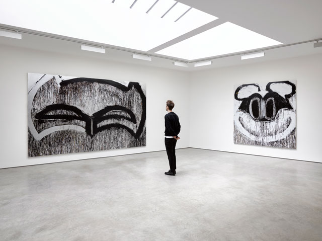 Joyce Pensato. Installation view of FORGETTABOUT IT. Lisson Gallery London, May 2017. Photograph: Jack Hems. © Joyce Pensato; Courtesy Lisson Gallery.