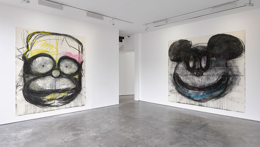 Batman, Donald Duck and Disney-style mice all loom large in US artist Joyce Pensato's second exhibition at the Lisson Gallery, And, although the works, all from 2017, are well-worn territory for her, she demonstrates a subtle shift in style