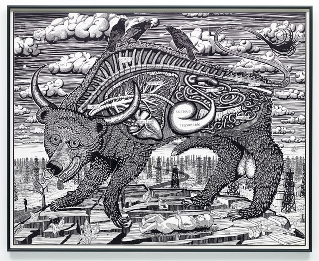 Grayson Perry. Animal Spirit, 2016. Woodcut printed, Heritage White. Courtesy the Artist, Paragon Press and Victoria Miro, London. Photograph: Stephen White © Grayson Perry.