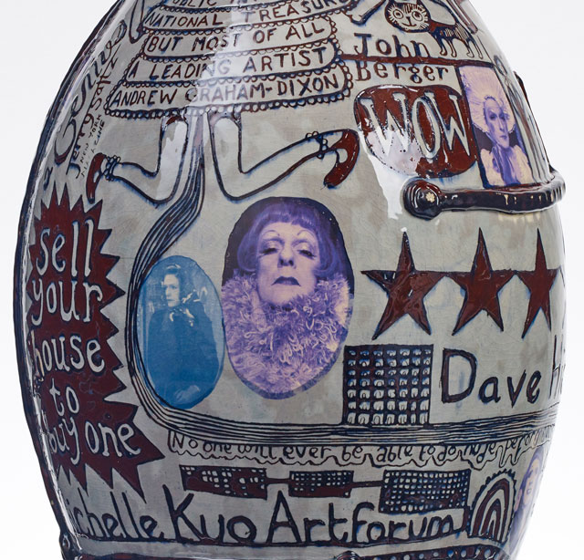 Grayson Perry. Puff Piece, 2016 (detail). Glazed ceramic. Courtesy the artist and Victoria Miro, London Photograph: Stephen White © Grayson Perry.
