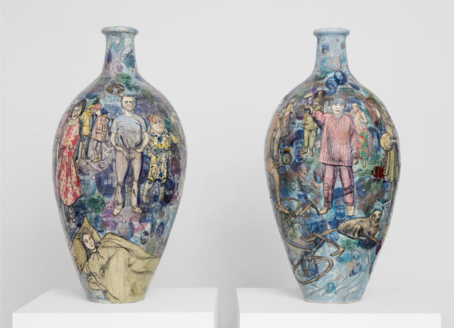 Grayson Perry. Matching Pair, 2017. Glazed ceramic diptych, each 105 x 51 cm. Courtesy the artist and Victoria Miro, London. Photograph: Robert Glowacki © Grayson Perry.