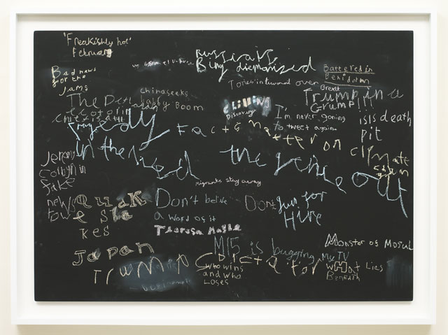 Cornelia Parker. News at Seven (Chilling), 2017. News headlines drawn by 7-year-olds, blackboard, 116.5 x 156.5 x 6 cm (framed). Courtesy of Frith Street Gallery.