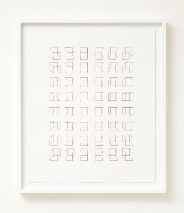 Cornelia Parker. Bullet Drawing (Crosshairs), 2017. Lead from bullets, melted down and drawn into wire, threaded through paper, 69 x 58.5 x 4.5 cm (framed). Courtesy of Frith Street Gallery.