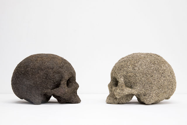 Tom Phillips. The Artist Encounters his Younger Self, 1997. Plaster, mud and hair, each skull 15 x 20 x 30 cm. © Tom Phillips. Courtesy of Flowers Gallery London and New York.