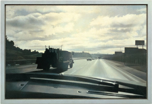 Vija Celmins. <em>Freeway</em>, 1966. Oil on canva,. 17½ x 26⅜ in. Collection of Harold Cook, Ph.D.