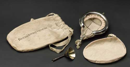 Cotton drawstring bag, containing facemask and funnel for inhaling ether. 