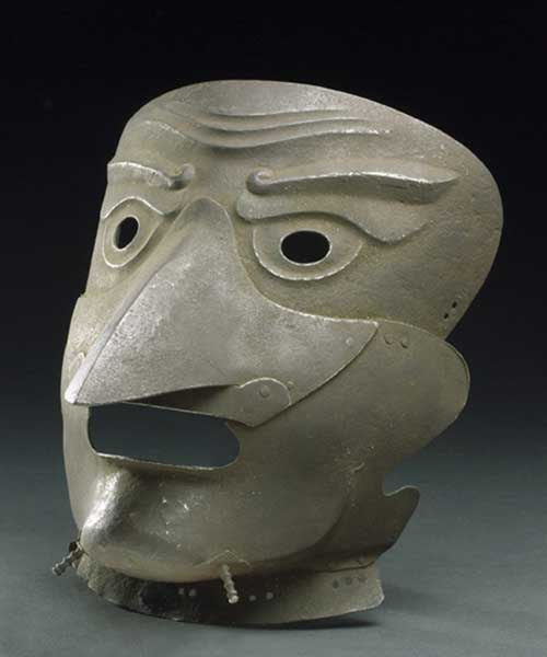 Mask with grotesque nose piece, moulded eye brows and furrowed brow worn 