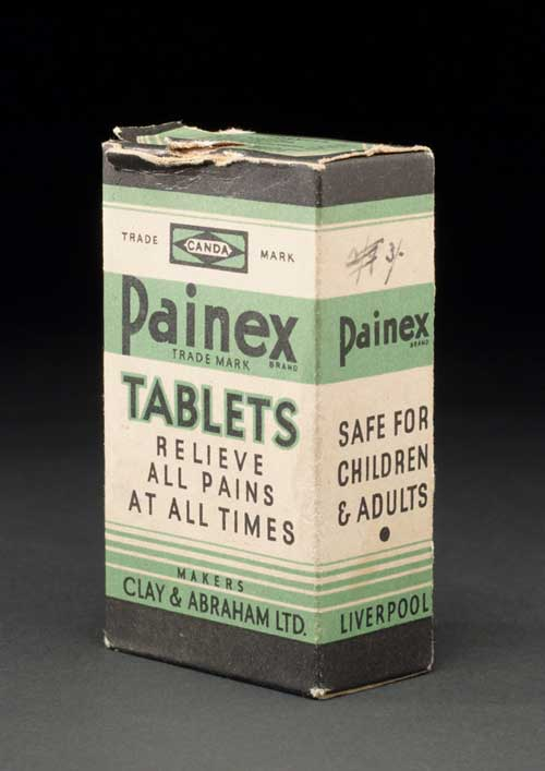 Bottle in box of Painex tablets by Clay and Abraham Ltd. English, 1930-1960. 