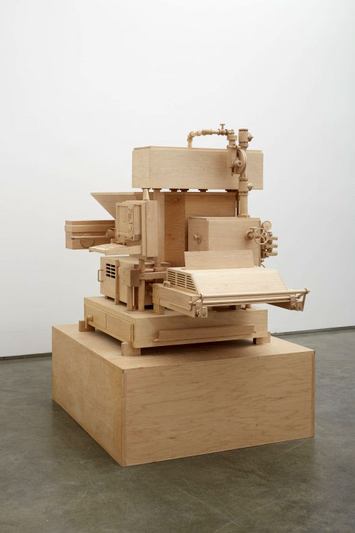 Roxy Paine. Machine of Indeterminacy, 2014 (view 2). Maple. 45 x 64 x 46 in (114.3 x 162.6 x 116.8 cm). Courtesy of the artist and Marianne Boesky Gallery, New York © Roxy Paine. Photograph: Jason Wyche.
