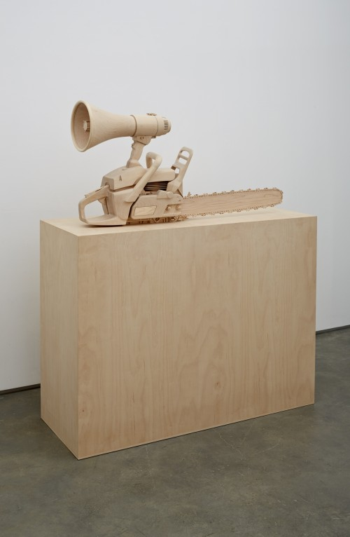 Roxy Paine. Speech Impediment, 2014. Maple. 23 x 40 x 11 in (58.4 x 101.6 x 27.9 cm). Courtesy of the artist and Marianne Boesky Gallery, New York © Roxy Paine. Photograph: Jason Wyche.