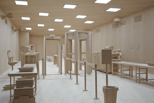 Roxy Paine. Checkpoint, 2014. Installation view. Maple, aluminium, fluorescent light bulbs, and acrylic prismatic light diffusers, 14ft x 26ft 11in x 18ft 7.5in (4.27 x 8.2 x 5.7m). Courtesy of the artist and Marianne Boesky Gallery, New York © Roxy Paine. Photograph: Jason Wyche.