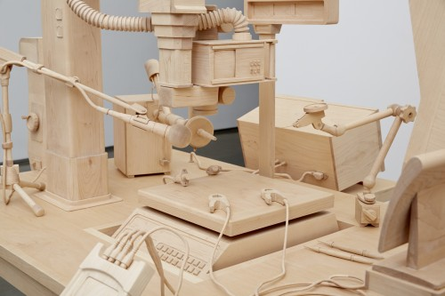 Roxy Paine. Scrutiny, 2014 (detail). Maple. Approx. 70 x 130 in (177.8 x 330.2 cm). Courtesy of the artist and Marianne Boesky Gallery, New York © Roxy Paine. Photograph: Jason Wyche.