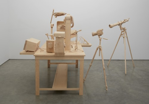 Roxy Paine. Scrutiny, 2014. Maple. Approx. 70 x 130 in (177.8 x 330.2 cm). Courtesy of the artist and Marianne Boesky Gallery, New York © Roxy Paine. Photograph: Jason Wyche.
