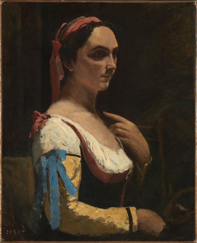 Jean-Baptiste-Camille Corot. Italian Woman, or Woman with Yellow Sleeve (L'Italienne), c1870. Oil on canvas, 73 x 59 cm. © The National Gallery, London.