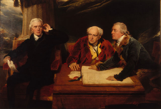Sir Thomas Lawrence. Sir Francis Baring, 1st Baronet, John Baring, and Charles Wall, 1806-1807. Oil on canvas, 156 × 226 cm. Private collection. © Photograph courtesy of the owner.