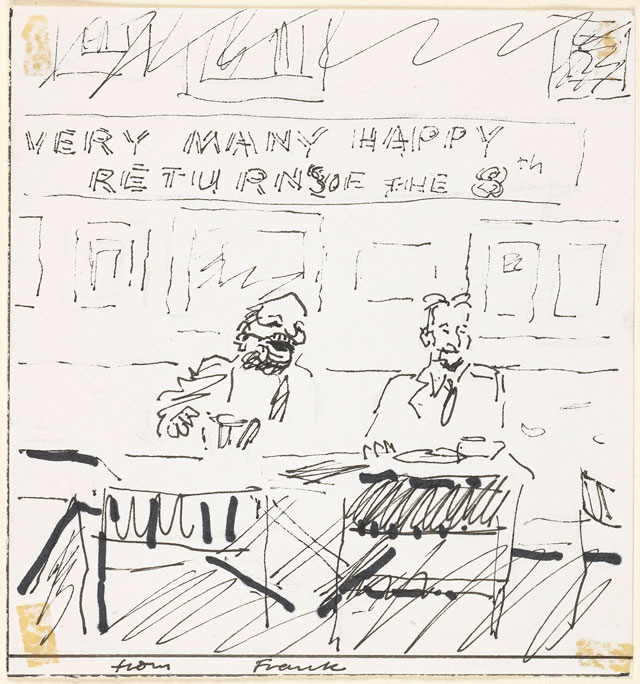 Frank Auerbach. Birthday card from Frank Auerbach to Lucian Freud. The Syndics of the Fitzwilliam Museum, University of Cambridge. © Frank Auerbach, courtesy Marlborough Fine Art. Photograph: Fitzwilliam Museum, Cambridge.