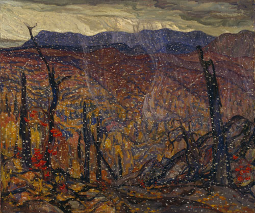 AY Jackson. <em>First Snow, Algoma,</em> c1919-20. Oil on canvas, 107.1 x 127.7 cm. McMichael Canadian Art Collection. In memory of Gertrude Wells Hilborn