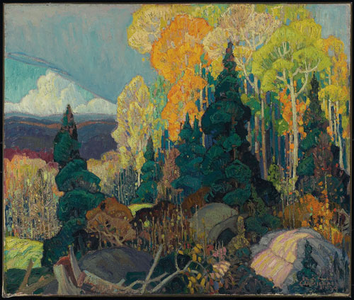 Franklin Carmichael. <em>Autumn        Hillside</em>, 1920. Oil on canvas,          76 x 91.4 cm.        © Art Gallery of Ontario.          Gift from the J.S. McLean        Collection, Toronto. © Courtesy of<br>       the Estate of Franklin Carmichael.