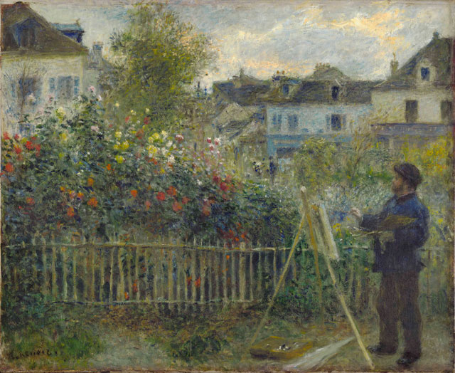 Auguste Renoir. Monet Painting in His Garden at Argenteuil, 1873. Oil on canvas, 46.7 x 59.7 cm. Wadsworth Atheneum Museum of Art, Hartford, CT. Photograph © Wadsworth Atheneum Museum of Art, Hartford, CT.