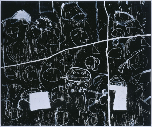 Mimmo Paladino,          <em>Esercizio di Lettura 4</em>, 2005-1998.   Oil on canvas, 95 1/4 x 114 in/242 x 290 cm. © The artist, courtesy Waddington Galleries, London.